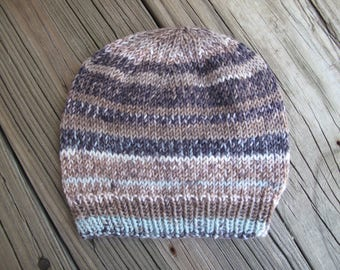 Baby Hat Beanie Hand-Knitted in Self-Striping Soft Merino Wool (three to six months size) OOAK