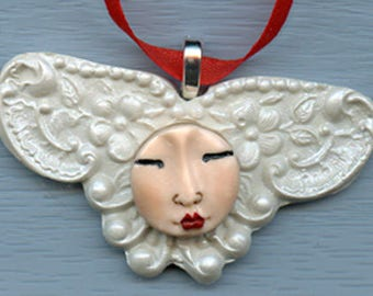 Polymer White PearlArt Nouveau Angel  Ornament AO 22
