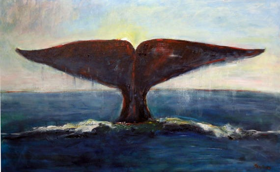 Whale Tail ORIGINAL Ocean Art Oil Painting - 48x30 Artwork by BenWill
