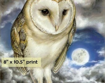 Moon Watch -  surreal pop fantasy art portrait barn owl 8 x 10.5 inches print of original pastel painting by Tanya Bond