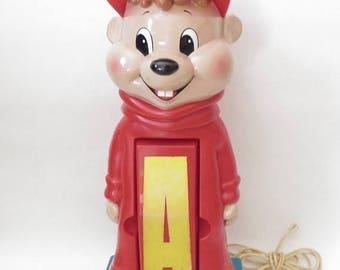 ON SALE Vintage Alvin and the Chipmunks Phone 80s Telephone Plastic Novelty Kids Room Decoration Red Landline