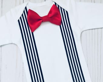 Black and white suspenders and satin red bow tie T-shirt or onesie ..boys clothing...