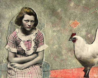 Painting Vintage girl with chicken  lovely original  mixed media