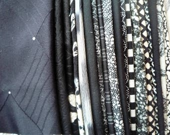 Black Silk Kimono Remnants, Japanese Vintage Fabric Scraps Monotone Mix, Various Patterns, Craft Supply for Handmade Remake