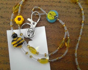 Ladybug, Bumble Bee and Flower beads in a Beaded ID Badge Holder Lanyard Bead Necklace or for Glasses