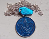 Blue Tetragrammaton Occult Charm Necklace by Ugly Shyla protection - good fortune - goth - witch - pagan