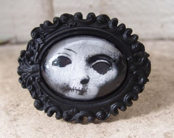 Cracked Doll Head Cameo Bracelet by Ugly Shyla - Gothic - Victorian Gothic - Victorian Mourning - creepy doll - doll art - spooky - old doll