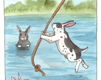 Original Watercolor Rabbit Painting - Rope Swing