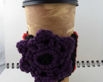 SALE - Black with Red Stripes and Purple Flower Crocheted Coffee Cozy (SWG-B07)