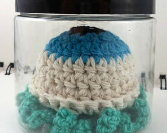 Jar with Giant Aqua Crocheted Eyeball with Aqua Tentacles (SWG-EY016)