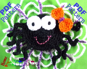 Spider Halloween crochet Applique Pattern