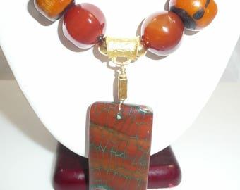 Isla del Sol necklace - agate, Moroccan amber, carnelian, aventurine, amber resin, Ethiopian brass rings and bronzite