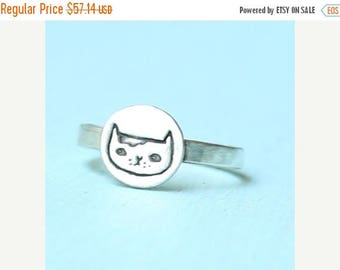 ON SALE Martha the CAT stacking ring, illustration by Gemma Correll, eco friendly sterling silver. Handcrafted by Chocolate and Steel