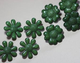 Green Plastic Buttons Assortment Variety Mixed Lot Green Flower Buttons