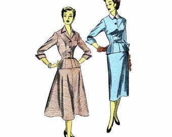 SALE 1950s Misses Jacket Blouse Slim or Flared Skirt Advance 6165 Vintage Sewing Pattern Size 14 Bust 32