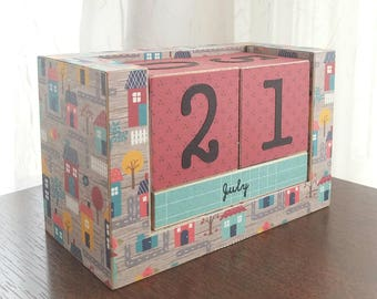 Houses - Handmade Perpetual Wooden Block Calendar - Desk Calendar - Lovely Neighborhood - Housewarming Gift - Gifts under 25