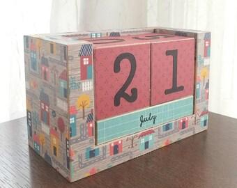 Houses - Handmade Perpetual Wooden Block Calendar - Desk Calendar - Lovely Neighborhood - Housewarming Gift - Gifts under 25