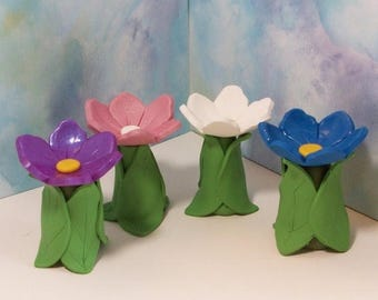 25% off SALE Miniature Flower Bird bath, terrarium, fairy or gnome gardens: polymer clay