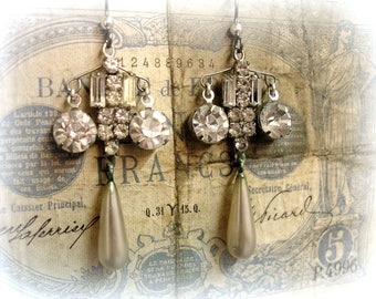mergers and acquisitions one of kind vintage assemblage earrings indecently bRilliant rhinestones with decadant old pearls