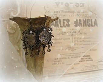 devotee reprise one of a kind vintage assemblage earrings antique engraved sterling holy medal virgin of mt carmel smoky topaz dangles