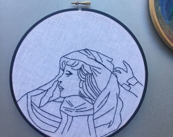 White witch - hand drawn and embroidered Stevie Nicks inspired hoop art wall hanging #witchaday 28/31