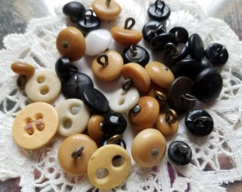 Forty (40) Antique Shoe and Underwear Buttons. Bone, Leather, Glass, Veg Ivory.
