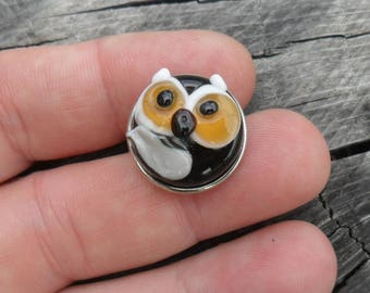 Snap Charm  Owl Snap, Lampwork Artisan Handmade Fits 18 mm SRA Glassymom