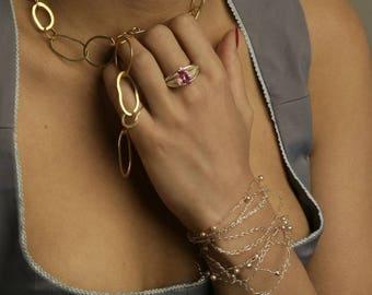 Chaine en or 18 carats fait main, bijou de createur