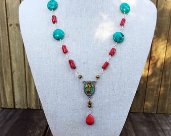 Virgen de Guadalupe Red Coral & Turquoise Lariat Necklace