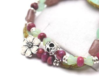 Pink Mint Bracelet Set Floral Flower Garden Sugar Skull Stretch Matte Czech Glass Double Stacker Magenta Fuchsia Light Pastel Mauve Celadon