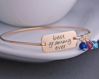 Best Grammy Ever Bracelet, Gift for Grammy, Bangle Bracelet  Christmas Gift with Custom Initial Charms, Gold Bracelet for Grammy