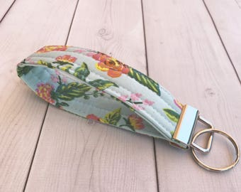 Floral Key Fob Rifle Paper Co Gift For Her Keychain Wrist Strap Keychain Turquoise Aqua  Key Holder Wrist Lanyard Gift For Women
