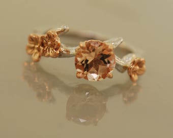 Cherry Blossom Branch with Morganite, twig ring,branch ring,alternative engagement ring,,ring, gold twig ring,