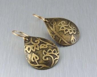 Etched Brass Earrings - Brass and Floral Earrings - Brass Teardrop Earrings