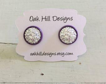 Kelly's earrings-Silver druzy earrings with purple setting-silver and purple druzy earrings-faux druzy studs