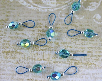 Light Aqua On Crater Lake Blue Wire Stitch Markers - US 5 - Item No. 452