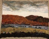 RESERVED - No.39 Hills at Dusk Too - Wet felted wall hanging