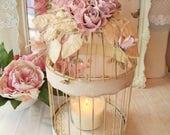 Vintage Wedding, Ivory Birdcage, Shabby Pink Roses & Aurora Borealis Rhinestones
