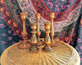 Set of five vintage wooden candlesticks