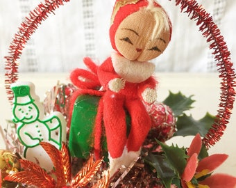 Vintage Christmas Red Pixie Elf Knee Hugger Holiday Kitsch Tinsel Decor Figurine