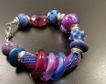 Handmade Lampwork Bead Bracelet by JudyDalyReganti- Sophia - Blues, Lavender and Purples