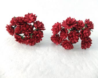 20 15mm deep red mulberry flowers
