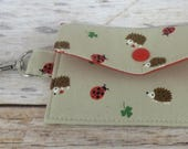 Mini Wallet with Metal Swivel Clasp - Gift Card Holder - Debit Credit Card Case - Business Card Case - Hedgehogs Ladybugs Fabric