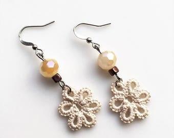 Flower Dangle Earrings, Ivory Lace, Long Drop Earrings, Crystal Bead, Ivory Filigree, Antique Copper, Unique Jewelry Gift, Long Lightweight