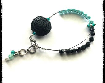 """Adjustable Row Counter Bracelet - 7.5"""" - 8.5"""" - Black Rope Focal Bead with Aqua and Black Czech Glass - I3"""
