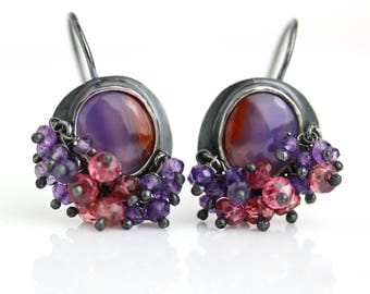 Laguna Agate Earrings with Amethyst and Red Spinel Fringe