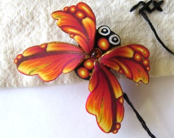 Sunset Orange Butterfly Needle Minder Sewing Notions, Magnetic Brooch