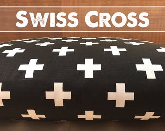 Dog Bed Cover, Swiss Cross Black White Cover, Dog Bed Duvet, Pet Bed Cover, Cat Bed Cover, Small to XL Covers for Dog Beds