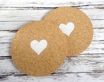 Unusual wedding favors. Set of 2 round natural cork drink coasters with heart. Contemporary, modern hand painted home gift.