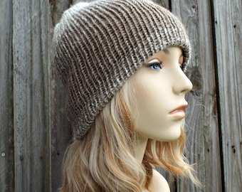 Double Knit Hat Cream and Taupe Womens Beanie, Mens Beanie, Reversible Thick Winter Hat - READY TO SHIP